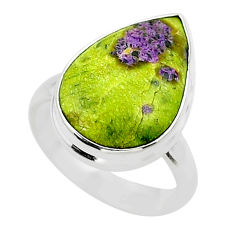 9.96cts solitaire atlantisite stichtite-serpentine silver ring size 6.5 t39051