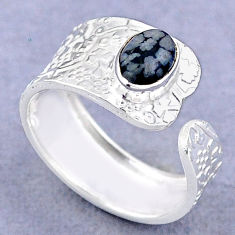 1.51cts solitaire australian obsidian 925 silver adjustable ring size 8 t47408