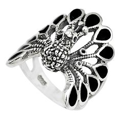 6.26gms solitaire black onyx 925 silver peacock ring jewelry size 5.5 t10348