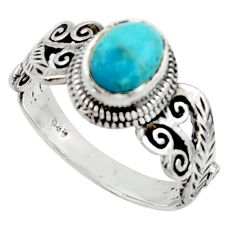 2.12cts solitaire blue arizona mohave turquoise 925 silver ring size 8.5 r40722