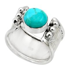 3.16cts solitaire blue arizona mohave turquoise 925 silver ring size 6.5 r49909