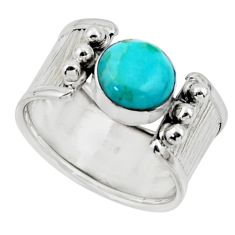 3.42cts solitaire blue arizona mohave turquoise 925 silver ring size 7 r49910