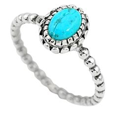 1.47cts solitaire blue arizona mohave turquoise 925 silver ring size 7 t6349