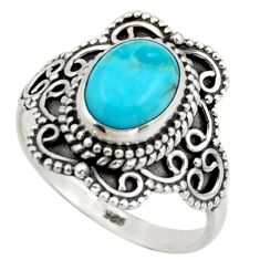 3.47cts solitaire blue arizona mohave turquoise 925 silver ring size 8 r41996