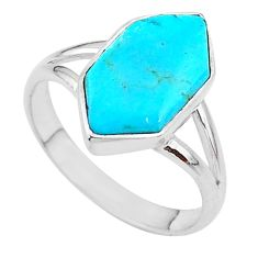 4.53cts solitaire blue arizona mohave turquoise 925 silver ring size 7.5 t11142