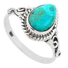 2.61cts solitaire blue arizona mohave turquoise 925 silver ring size 7.5 t15682