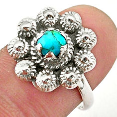 0.85cts solitaire blue arizona mohave turquoise silver flower ring size 7 t40691