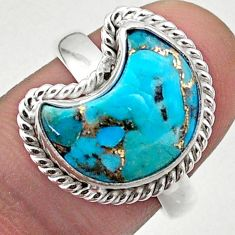 5.81cts solitaire blue copper turquoise 925 silver moon ring size 8 t47690