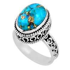 6.54cts solitaire blue copper turquoise 925 sterling silver ring size 8.5 r51830