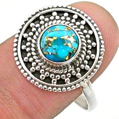 2.39cts solitaire blue copper turquoise 925 sterling silver ring size 10 t41424