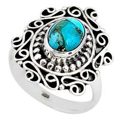 2.01cts solitaire blue copper turquoise 925 sterling silver ring size 6 t15803