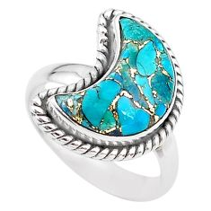 6.10cts moon blue copper turquoise 925 sterling silver ring size 7 t22160
