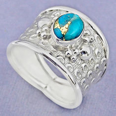 1.86cts solitaire blue copper turquoise 925 sterling silver ring size 7 t37165