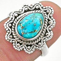 2.44cts solitaire blue copper turquoise 925 sterling silver ring size 7 t41484