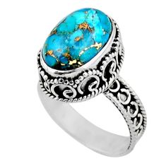6.08cts solitaire blue copper turquoise 925 sterling silver ring size 8 r51829