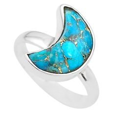 5.54cts moon blue copper turquoise 925 sterling silver ring size 8 t22045