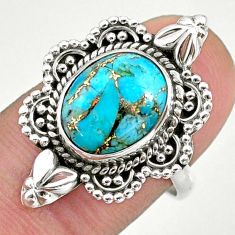 4.43cts solitaire blue copper turquoise 925 sterling silver ring size 8 t39901