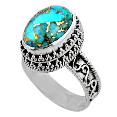 6.73cts solitaire blue copper turquoise 925 sterling silver ring size 9 r51832