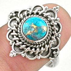 2.71cts solitaire blue copper turquoise 925 sterling silver ring size 9 t41381