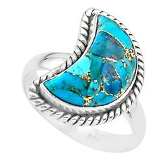 6.10cts moon blue copper turquoise 925 sterling silver ring size 7.5 t22167