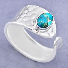 1.47cts solitaire blue copper turquoise silver adjustable ring size 8.5 t47325