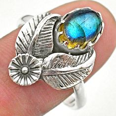 3.40cts solitaire blue labradorite 925 sterling silver flower ring size 9 t25215