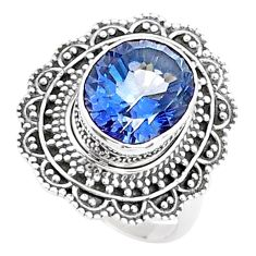 5.34cts solitaire blue rainbow topaz 925 sterling silver ring size 8 t15553