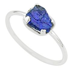 3.25cts solitaire blue sapphire raw 925 sterling silver ring size 9 t7510