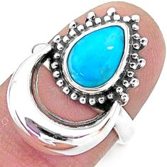 2.69cts solitaire blue sleeping beauty turquoise 925 silver ring size 6 t6385