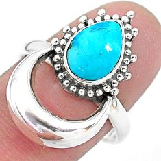 2.56cts solitaire blue sleeping beauty turquoise 925 silver ring size 8.5 t6397