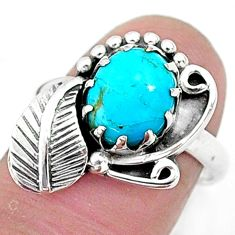 3.11cts solitaire blue sleeping beauty turquoise silver leaf ring size 7 t6387