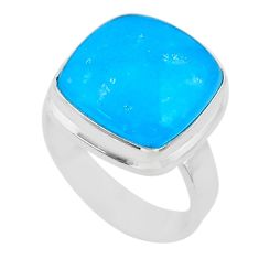 11.64cts solitaire blue smithsonite 925 sterling silver ring size 7 t29056