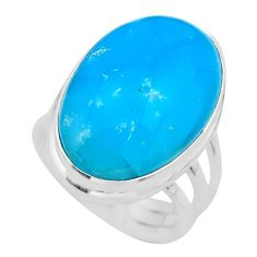 20.07cts solitaire blue smithsonite 925 sterling silver ring size 7.5 t29053