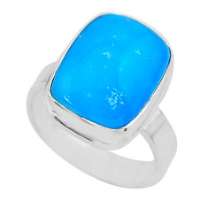 7.89cts solitaire blue smithsonite 925 sterling silver ring size 6.5 t29054