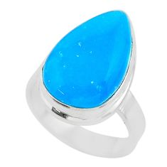 10.82cts solitaire blue smithsonite 925 sterling silver ring size 6.5 t29057