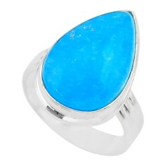 12.83cts solitaire blue smithsonite 925 sterling silver ring size 7.5 t29059