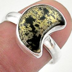 4.99cts solitaire bronze pyrite in magnetite 925 silver moon ring size 8 t47772