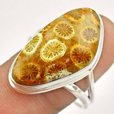 16.54cts solitaire brown fossil coral petoskey stone silver ring size 10 t54367