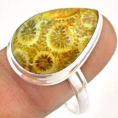 14.63cts solitaire brown fossil coral petoskey stone silver ring size 11 t54364