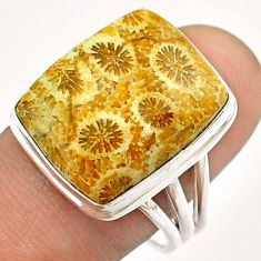 16.17cts solitaire brown fossil coral petoskey stone silver ring size 9.5 t54378