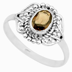 1.58cts solitaire brown smoky topaz 925 sterling silver ring size 7.5 r87356