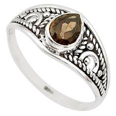 1.30cts cut smoky topaz 925 silver graduation handmade ring size 6 t9246