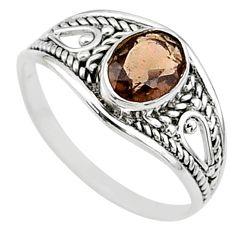 1.30cts cut smoky topaz 925 silver graduation handmade ring size 6 t9659