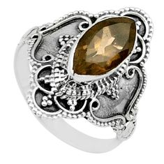 4.26cts solitaire brown smoky topaz 925 sterling silver ring size 7 t30796