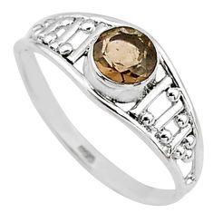 0.72cts cut smoky topaz 925 silver graduation handmade ring size 7 t9394