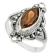 4.28cts solitaire brown smoky topaz 925 sterling silver ring size 8 t27028