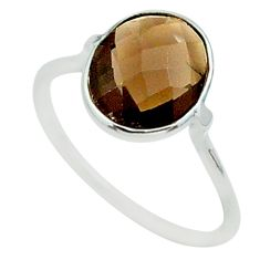 4.95cts solitaire brown smoky topaz 925 sterling silver ring size 8 t50689