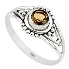0.73cts cut smoky topaz 925 silver graduation handmade ring size 8 t9368