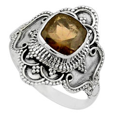 3.41cts solitaire brown smoky topaz 925 sterling silver ring size 9 t30784