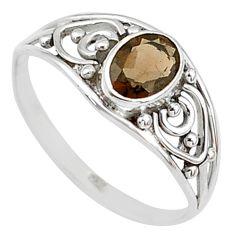 1.41cts cut smoky topaz 925 silver graduation handmade ring size 9 t9371